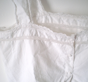Vintage french camisole with hand made lace embroidered trim
