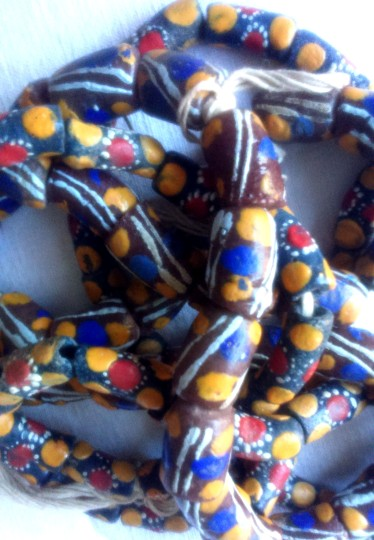brown:blue:yellow beads