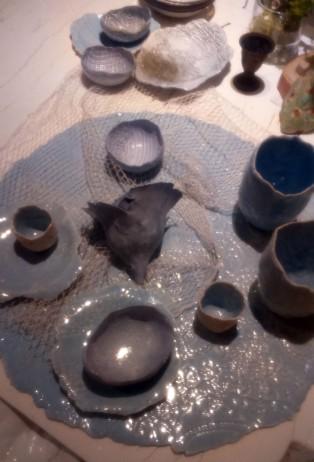 Embossed blue ceramics, ABC home
