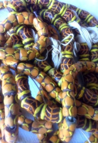 mustard:brown beads