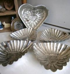 Vintage tin cake moulds