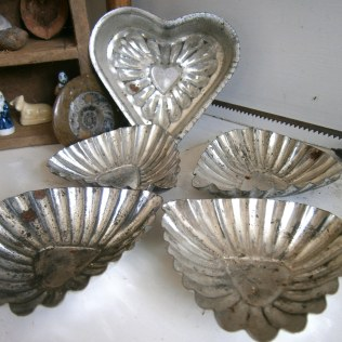 Vintage tin cake moulds