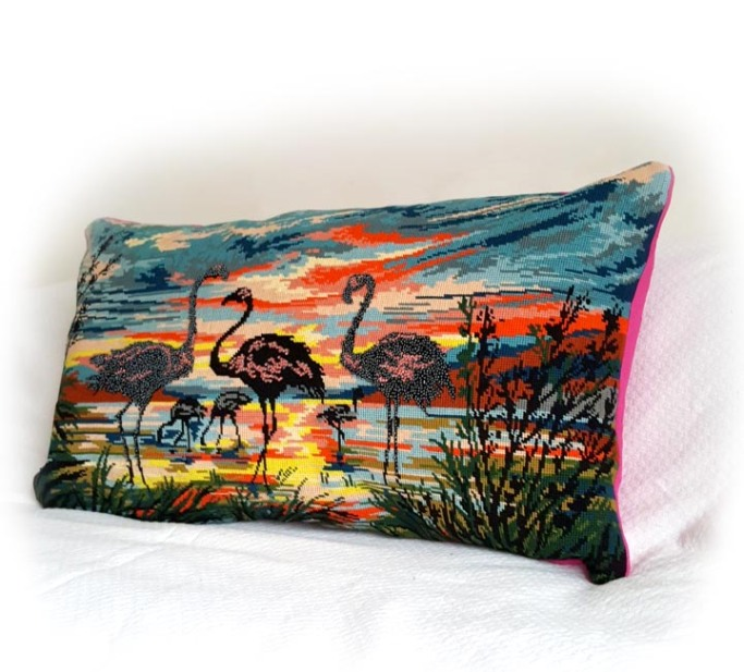 cushion with hand beaded flamingos