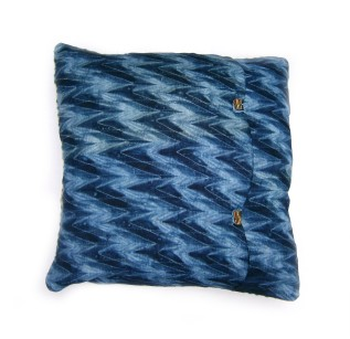 French vintage Braid cushion with feathered rosette and tie dye backing fabric. 45x45cm