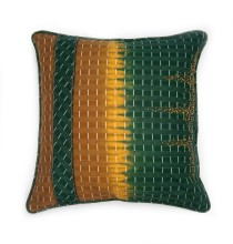 Yoruba collection. green and gold hand beaded and embroidered cushion. 45x45cm