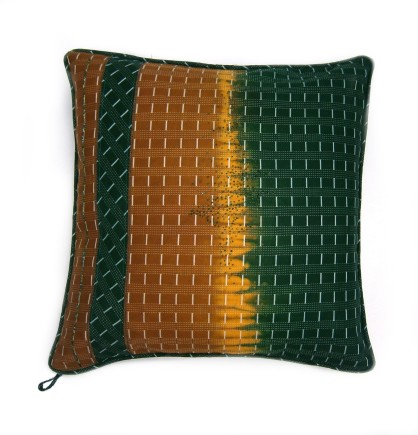 Yoruba collection. green and gold hand beaded cushion. 45x45cm