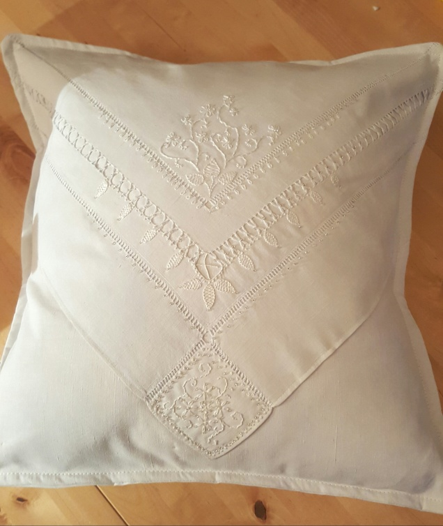 whitework embroidered cushion