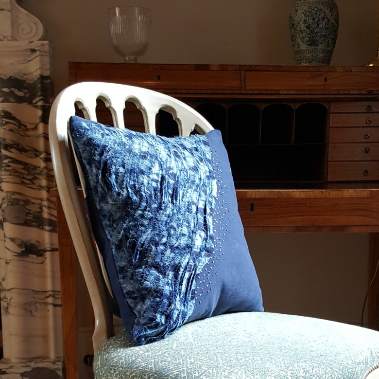 indigo hand dyed cotton embroidered cushion