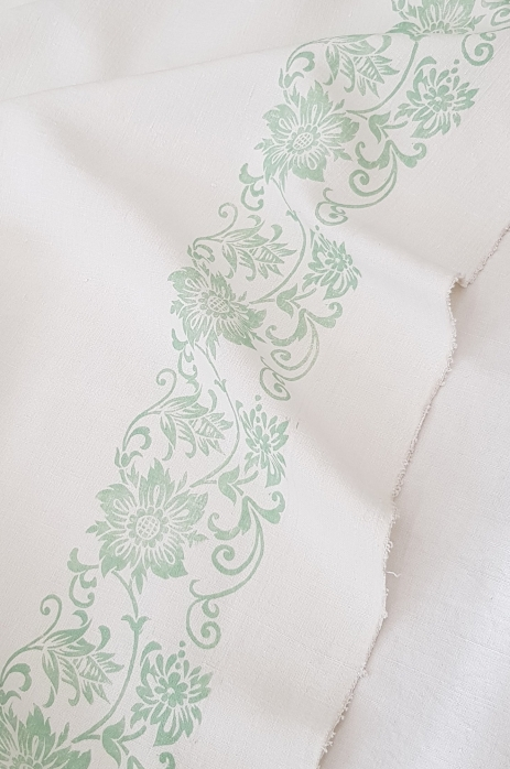 St Sennery border. Hand block printed on antique French Linen.