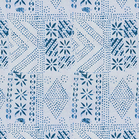 Adire Geo Wallpaper - Pale Indigo